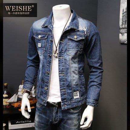 秋季男士牛仔外套 正韓版潮流帥氣牛仔衣修身學生夾克外衣潮