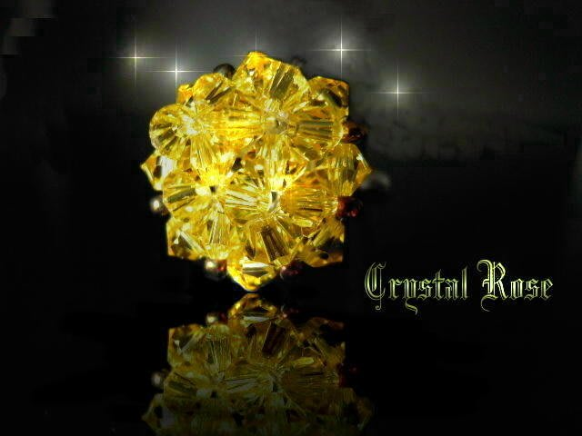 ※水晶玫瑰※ SWAROVSKI 水晶戒指~水晶黃(HAND12)