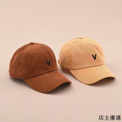 帽子女冬季燈芯絨V字母刺繡棒球帽韓版休閑百搭鴨舌帽男潮學生帽
