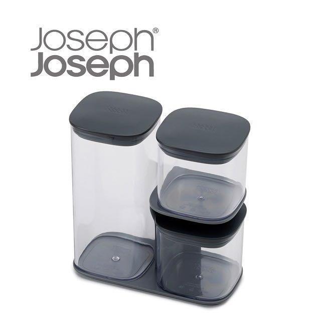 Joseph Joseph 英國創意餐廚 疊疊樂收納罐 三件組-附座灰