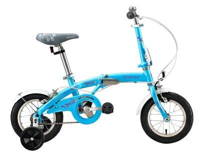 【OYAMA】歐亞馬JR200 12吋高碳鋼折疊車(藍色)(從小騎到大的折疊車)-【台中-大明自行車】