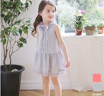 女童夏季學院風蝴蝶結洋裝裙~韓國製~7-15~特價出清