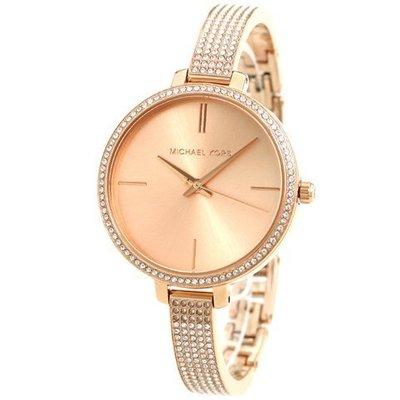 MICHAEL KORS MK3785 手錶 36mm 玫瑰金 三針 滿天星滿鑽錶帶 女錶