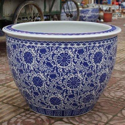 青花陶瓷魚缸水缸瓷缸睡蓮盆大荷花缸碗蓮缸烏龜缸