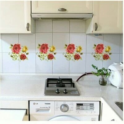 粉紅玫瑰精品屋~韓國玫瑰浴室廚房瓷磚貼紙~