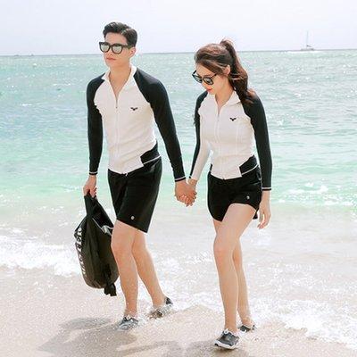 Qmi 時尚運動情侶款女生五件套 男生三件套裝 潛水衝浪防曬泳裝