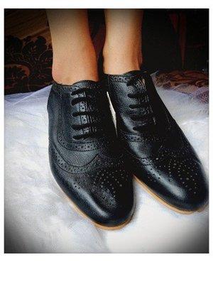 全新正品牛革ZARA WOMAN英倫風雕花皮鞋