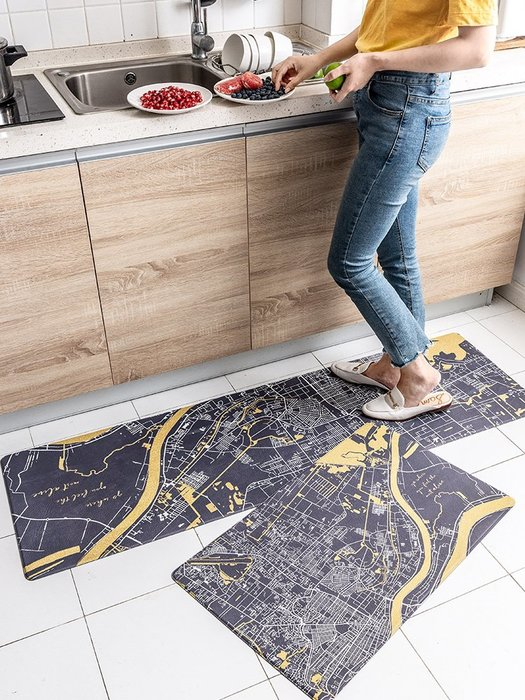 地墊 地毯 北歐簡約家用廚房地墊 門口腳墊防水防油污防滑墊地毯臥室墊子