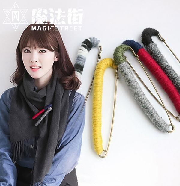 彩色毛線纏繞韓版復古日韓胸針胸花別針絲巾開衫披肩扣女