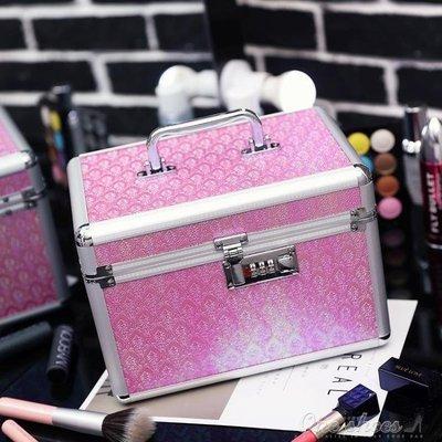 ZIHOPE 韓國專業鋁合金化妝包手提多層大容量化妝箱美甲工具護膚品收納包ZI812