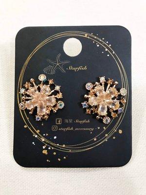 【海星 Starfish】|925銀針|✨絕美玫瑰金雙層立體雪花造型🌟水鑽花朵耳環✨
