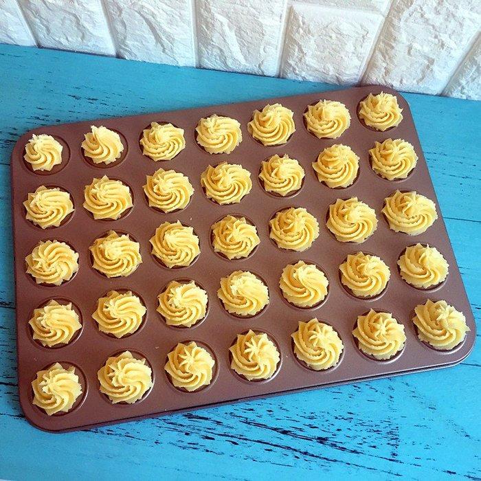 Amy烘焙網:35連不沾碳鋼曲奇餅乾烤盤/馬卡龍烤盤/烏比派烘焙模具