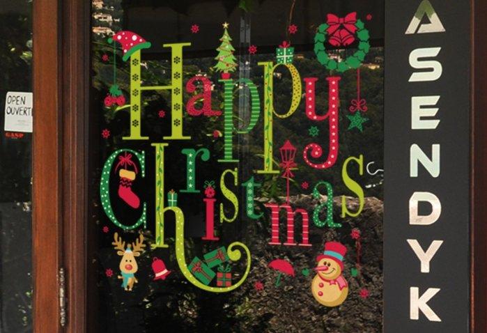 小妮子的家@靜電無膠全透明玻璃貼膜~/辦公室防撞貼膜~聖誕狂歡/i