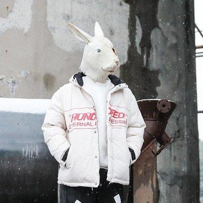 東家style 冬季棉服男士連帽印花棉襖潮流oversize加厚面包服棉衣外套
