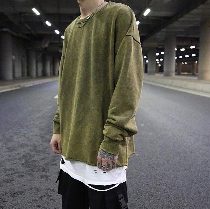 [你型我塑]8月更新KANYE高街風復古洗水做舊前短後長開叉毛邊寬鬆衛衣 潮牌打底衫男MX21