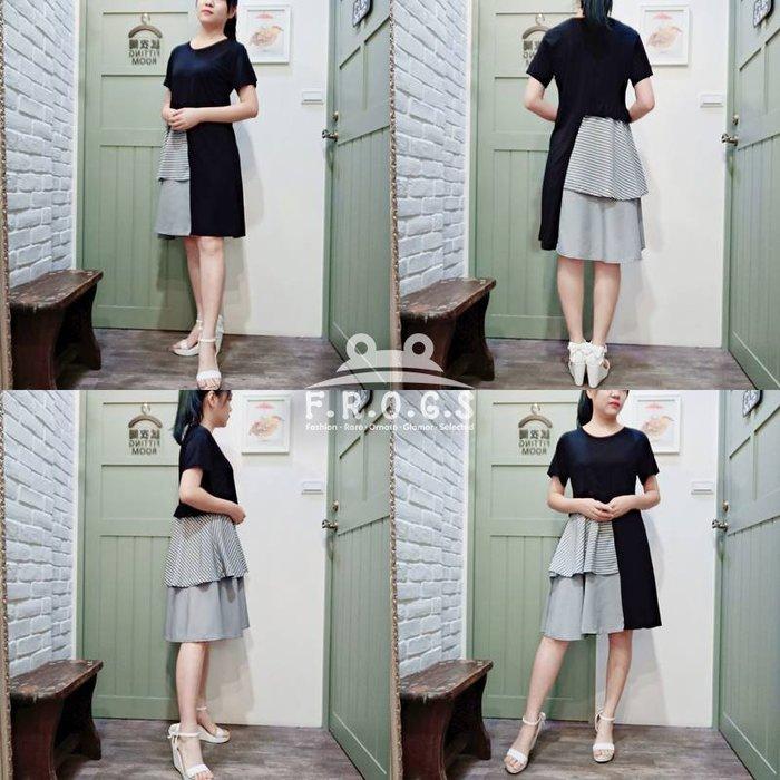 F.R.O.G.S T00087(全新)日本黑色拼接多層大小格子文青造型一件式寬鬆休閒裙連身裙連衣裙洋裝-現貨特價