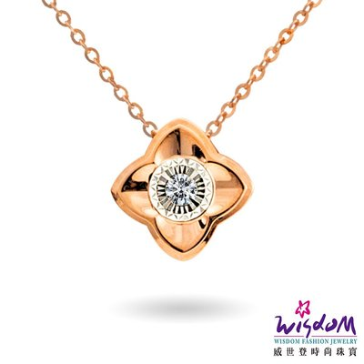 威世登 天然鑽石18玫瑰K金套鍊-情人節、生日、紀念日、送禮- JDB01910-BCGXX