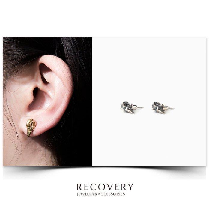 美國東村【Recovery】Raven Skull Earring 烏鴉頭骨 耳環 亮金 古銀