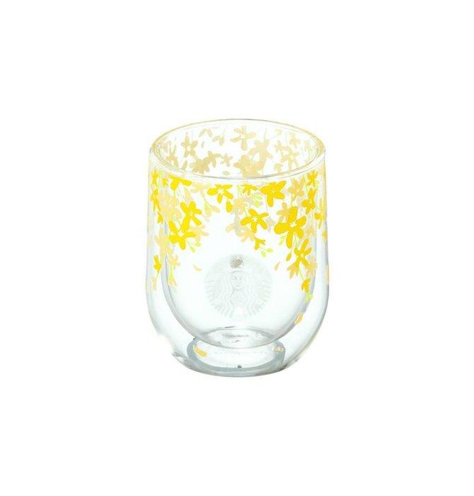 【現貨】韓國星巴克 2019春天黃綠色金鐘花&花園系列--黃金鈴雙層玻璃杯237ml