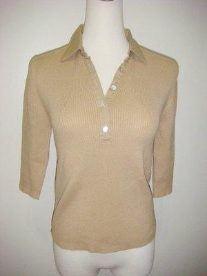 STEFANEL 史帝文麗副牌 ORDINARY PEOPLE咖啡色排扣七份袖針織衫