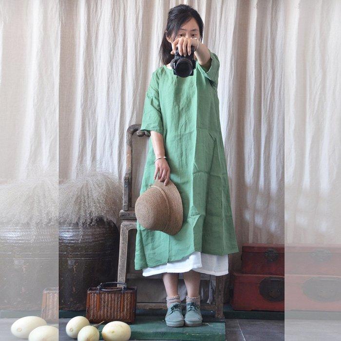 (老銀屋) 夏季文藝簡約純苧麻五~六分袖寬鬆連衣裙