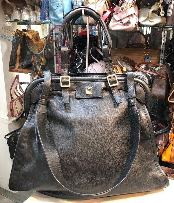 《當肯二手名品》GIVENCHY 黑色 全皮 肩背包 手提包 兩用包 ㊣
