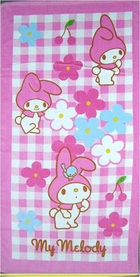 GIFT41 土城店 市伊瓏屋 美樂蒂 粉紅格紋 進口 印花 小 浴巾 下標前確認