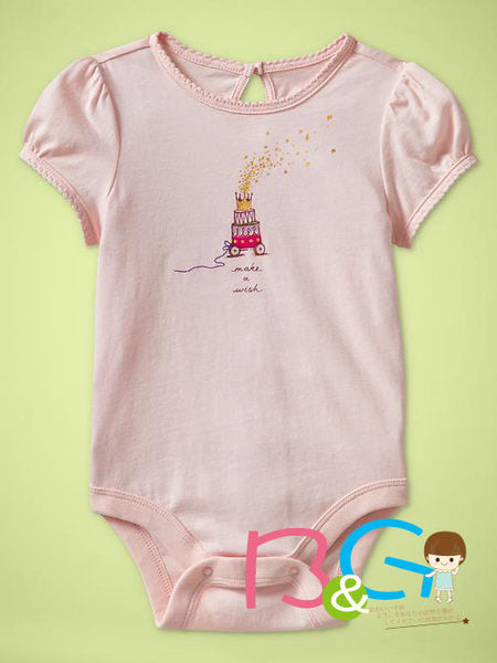 【B& G童裝】正品美國進口GAP Puff-sleeve graphi 蛋糕圖樣粉色短袖連身衣6-12-18mos