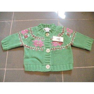 絕對正貨 100%新【GAP】Sweater 嬰兒冷衫毛線衣 開胸 厚身 緣色(3個月以下)23寸7~12磅(原$299)zara H&M baby bv lv