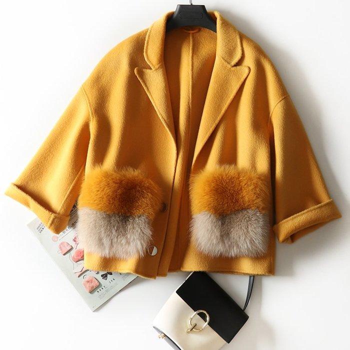 ZW137 大狐狸毛口袋羊毛外套/兔毛獺兔毛狐狸毛貉子毛貂毛/圍巾圍脖毛領毛領子/毛呢羊毛羊絨羊駝外套 預 預購