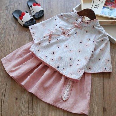 新款唐裝漢服兩件套改良民國女童中國風印花公主套裙5037