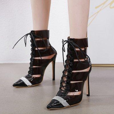 世界購 年新款玻璃膠鏤空上鉆尖頭涼靴  靴  子淺口12CM走秀款細跟鞋  40碼