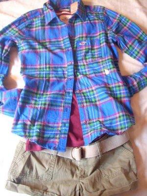 美國Hollister 女裝 Promenade Park 藍色系格紋超酷柔軟法藍絨純棉合身襯衫S號含運在台現貨