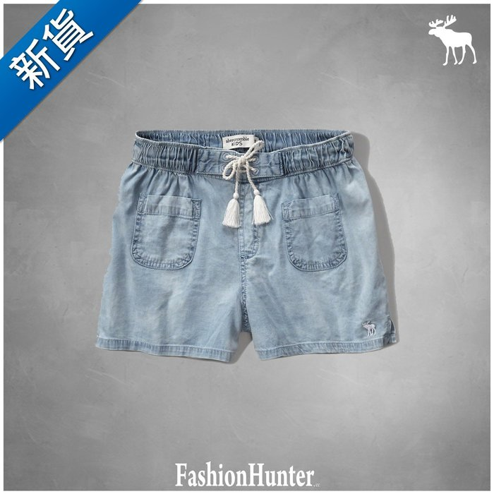 新貨【FH.cc】a&f 休閒短褲 chambray soft shorts 刺繡麋鹿 彈性腰身 綁帶設計 HCO
