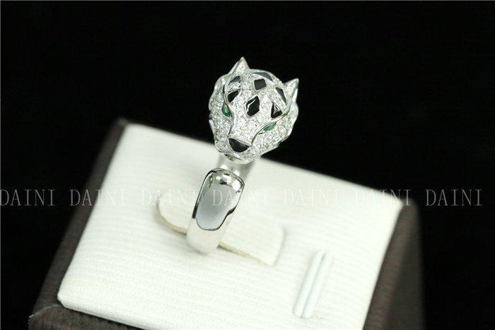 日韓時尚豹子鋯石水鑽可調式開口戒指情人節禮物生日禮物