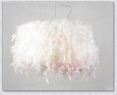 凱西美屋 義大利設計師款式 白色羽毛吊...