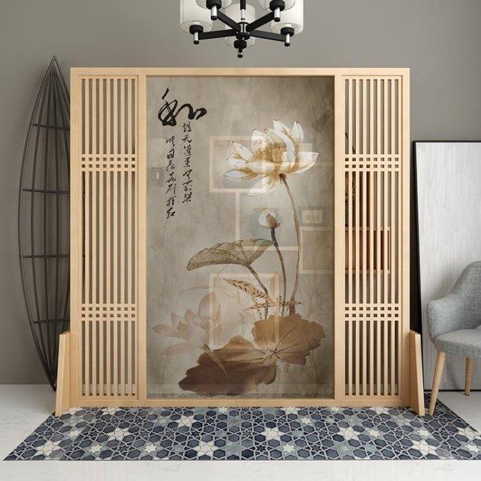 新中式屏風隔斷客廳玄關實木座屏時尚半透明現代簡約移動古典荷花 xw