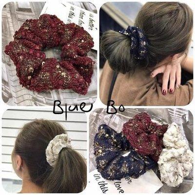 ~~BlueBo~~ 韓國飾品  金蔥毛呢大腸圈  髮束 髮飾 綁綁