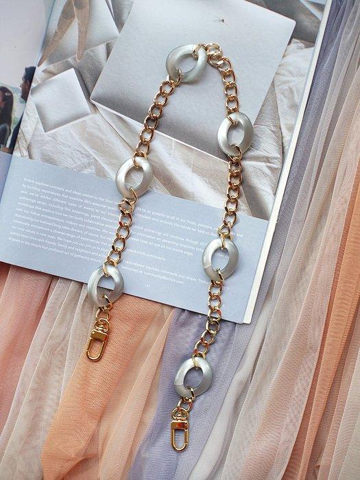 淘淘樂-法式氣質款包帶亞克力樹脂銅鏈條復古ins包配件舊包改造替換肩帶