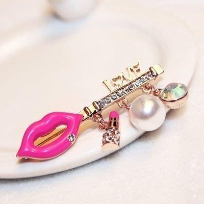 胸針 玫瑰金 珍珠胸章-簡約鑲鑽嘴唇造型女配件73bz17[獨家進口][米蘭精品]