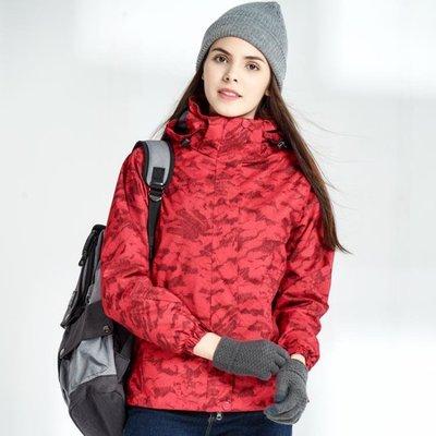 戶外印花衝鋒衣男女潮牌三合一兩件套加絨加厚可拆卸冬登山服