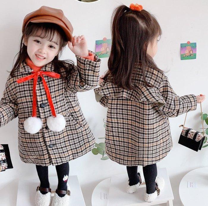 蜜寶貝【女童-外套-加絨】新年裝女童外套格子毛球夾棉加厚大衣上衣 尺寸90-130CM-0021