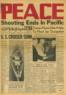 (徐宗懋圖文館) 二戰1945年8月15日 美國報紙《Pittsburgh Sun-Telegraph》原件