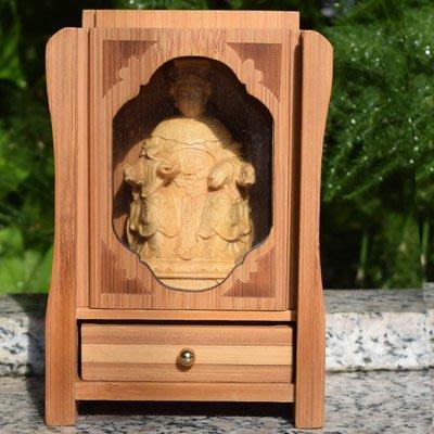 黃楊木佛龕小神像 媽祖 天上聖母 木雕擺件