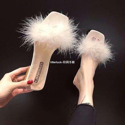 litterluck-韓國專櫃涼拖鞋女外穿正韓粗跟低跟涼拖鞋女2019新款毛毛一字拖女時尚拖鞋