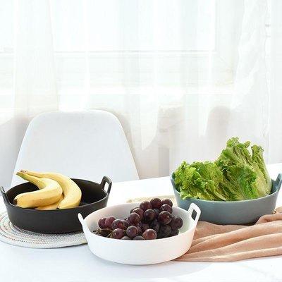 好物多商城 北歐家用雙耳菜盤好看的陶瓷湯盤創意甜點餐盤沙拉水果盤子