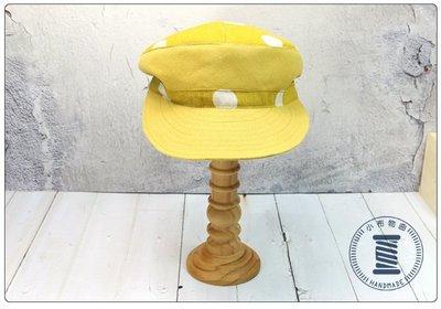 ✿小布物曲✿手作點點造型帽 精巧手工車縫製作 可依個人喜好調整高低  黃色