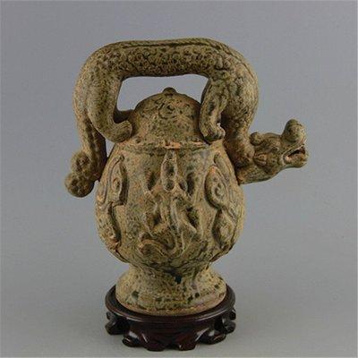 ㊣姥姥的寶藏㊣  宋越窯青釉龍紋提梁倒流壺  古瓷器壺 古玩古董收藏擺件