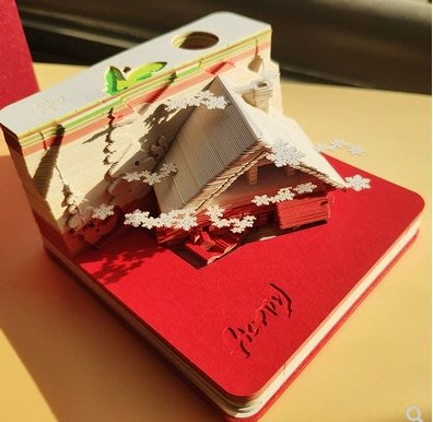 超美藝術品 冬季限定立體便利貼立體便條紙愛的小屋聖誕雪屋浪漫皇宮聖誕快樂3D建型抖音網紅創意紙雕便簽古風聖誕創意交換禮物