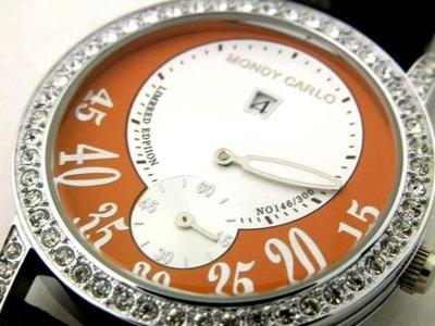 @@MONDY自動上鍊機械錶(獨眼跳時視窗複雜功能)(時.分.秒一直線).外框水晶鑽.